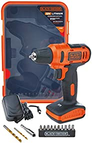 Black+Decker 12V 1.5Ah 900 RPM Cordless Drill Driver with 13 Pieces Bits in Kitbox For Drilling and Fastening,