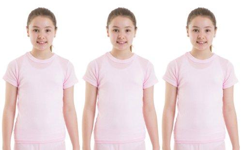 3-Pack-Girls-Thermal-Underwear-Short-Sleeve-Vest-PinkWhite-Thermals
