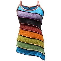 Shopoholic De Moda Para Dama Deslavado Arcoiris De rayas Hippie Boho Camiseta de tirantes - Arcoiris, Mediana