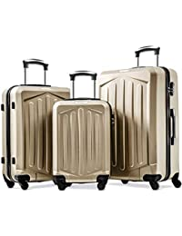 fbca1fee0 Merax Set of 3 Luggage Lightweight ABS Hard Shell Travel 4 Spinner Wheels  Suitcase 3 Pieces Set (20/24…