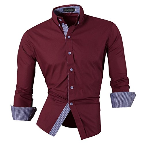 jeansian Hommes Chemise Casual Slim Fit Trend Fashion Mens Shirt 8507 WineRed