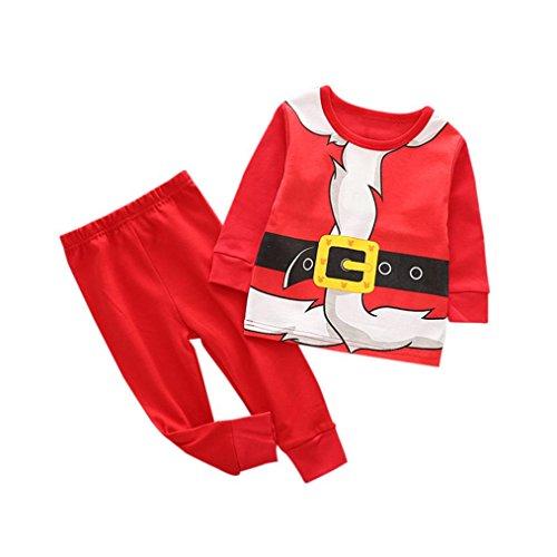 Bekleidung SHOBDW Kleinkind Kind Baby Mädchen Junge Weihnachten Outfits Kleidung Print T-shirt Tops + Hosen Set (2T, Rot-2) (Shirt 2t 2)