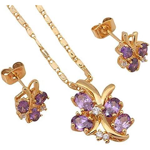 Bling fashion Glittering farfalla collana orecchini placcati oro 18K set collana ametista zirconi Salute nichel piombo js318a