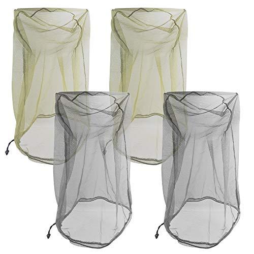 Senhai 4PCS Mosquito Head Netze, Leichte Abdeckung Face Mesh Head Schutz Fliegen Insekten Bugs Um für Outdoor Wandern Camping Klettern Fischerei–Schwarz, grün