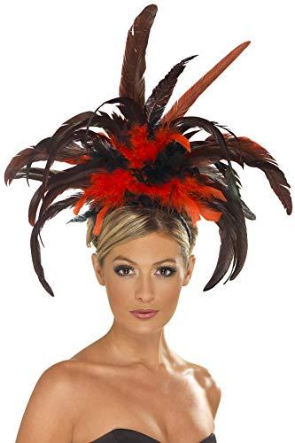 Smiffy'S 21043 Diadema Burlesque Con Plumas, Negro / Rojo, Tamaño Único