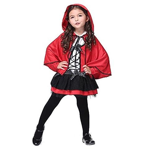 Kinder Mädchen Kostüm Set Gothic Riding Hood, Kostüm Damen Karneval rot/weiß