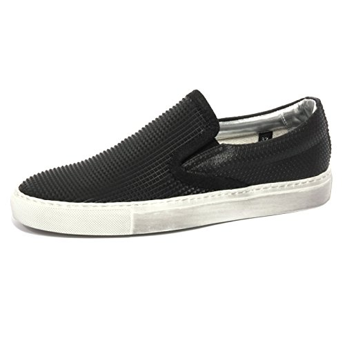 B1088 sneaker donna P448 E6 SLIPON scarpa nera shoes women Nero