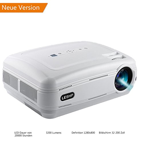 LESHP Video Beamer Full HD 1080P LCD Projector 1280 x 1920 Höchste Resolution 720P Multimedia Beamer mit kostenlosem HDMI & AV Kabel,Support TV/Smartphone/PC/,Support 1080p/USB/VGA/SD/HDMI/TV/AV