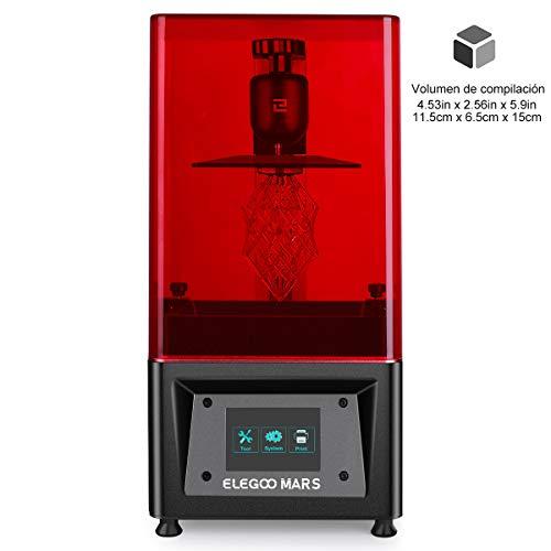 """ELEGOO MARS Impresora 3D UV Fotocurado con 3.5\"""" Pantalla Táctil Inteligente de Color Impresión Fuera de Línea 115mm(L) x 65mm(W) x 150mm(H) Tamaño de Impresión-Negro"""