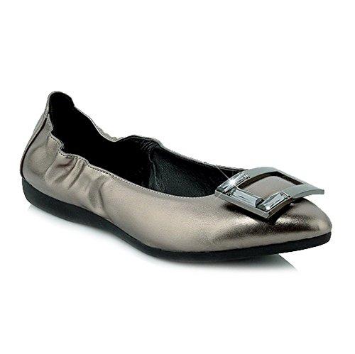 AllhqFashion Femme Pointu Tire Microfibre Mosaïque Non Talon Chaussures à Plat Gris