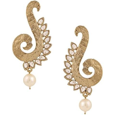 Golden pearl pendiente para el de pavo real indio AD para metal y piedra jeweleryOREA0300WH