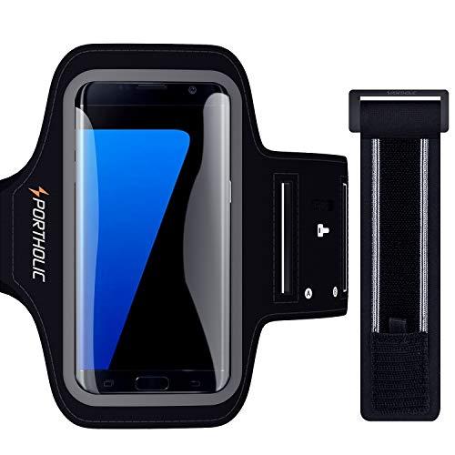 PORTHOLIC Sport Armband Fitness für Galaxy S7 S6 S5 A5, Huawei P10 P10 lite P9, Schlüsselhalter, Kartensteckplatz, Kopfhörerloch, für Handy Bis zu 5,5 Zoll, für Joggen Radfahren Wandern