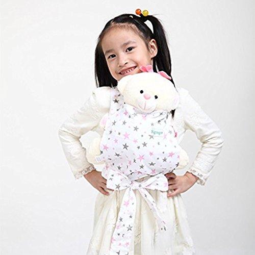 Baby Doll Carrier Mei Tai Sling Toy pour enfants Enfant enfant en bas d'enfant Dos, Mini-porteuse, Hibou, Dot, Fleur, Kaléidoscope (Pink Star) JOBEBE