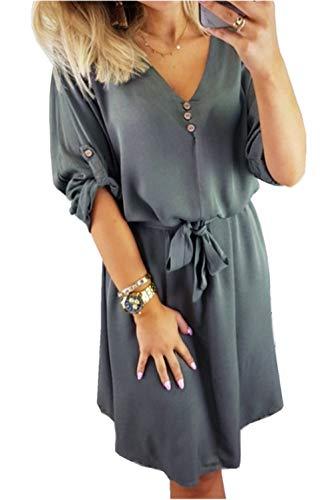 ZIYYOOHY Damen Casual Blusenkleid Chiffon Button V-Ausschnitt 3/4 Ärmel Freizeit Mini Sommerkleid Mit Gürtel (38, Grün) Ausschnitt Button