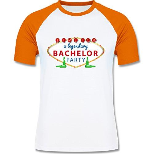 JGA Junggesellenabschied - Bachelor Party Schild - zweifarbiges Baseballshirt für Männer Weiß/Orange