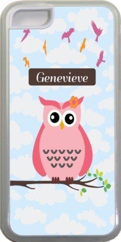 Genevieve Nom-Chouette sur branche avec rose mignon personnalisée Nom Design Iphone 5C Coque (Transparent) avec protection pare-chocs en caoutchouc pour Apple iPhone 5C Étui vendre s
