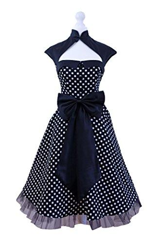 Vintage 1950s 60s Swing Rockabilly A Pois Rosso Bianco Nero Partito di Sera Abito Vintage Taglia 8-24 Black 54