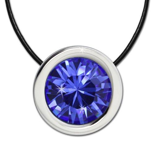Amello Parure in acciaio inox besthend in pelle nera collana con ciondolo Swarovski Elements zirconi blu esss01b