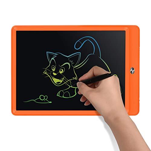 ablet, 10 Zoll LCD-Schreibtafeln, Grafiktabletts Schreibplatte Digital Schreibtafel Papierlos Schreiben Tabletten für Kinder Schule Graffiti Malen Notizen(Orange+Bunt) ()
