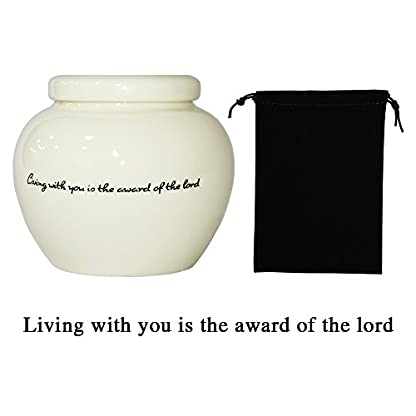 Homelix White Pet Cremation Urn Ceramics Memorial Urn For Cat Dogs Ashes (Pet urns-05) 2