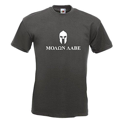 Kiwistar Spartaner Helm - Molon Labe T-Shirt in 15 Verschiedenen Farben - Herren Funshirt Bedruckt Design Sprüche Spruch Motive Oberteil Baumwolle Print Größe S M L XL XXL Graphit