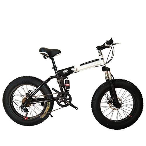 WZB Bicicletta da Montagna Pieghevole, 20/26 Pollici, 27 velocità, Cambio Shimano con 4,0'Pneumatici Grassi, Biciclette da Neve, Nero, 26'