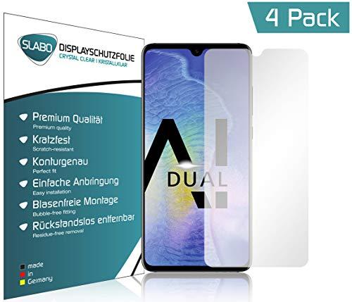 Slabo 4 x Displayschutzfolie für Huawei Mate 20 Displayfolie Schutzfolie Folie Zubehör (verkleinerte Folien, aufgrund der Wölbung des Displays) Crystal Clear KLAR - unsichtbar Made IN Germany