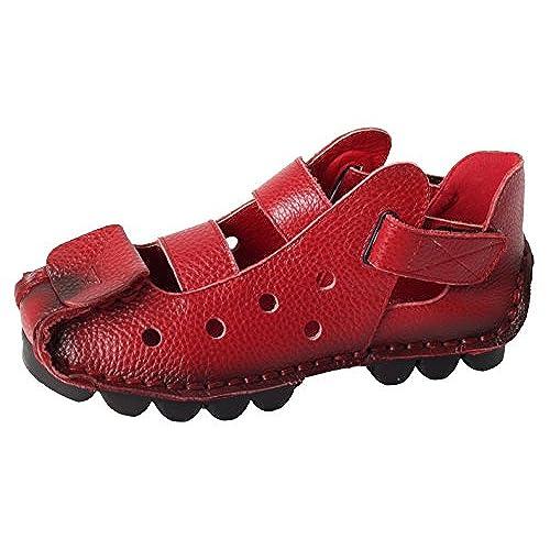 Vogstyle Damen Neu Weinlese Handgemachtes Echtes Leder Ebene Schuhe Art 2 Rot EU37/CH38 sP0y66PW