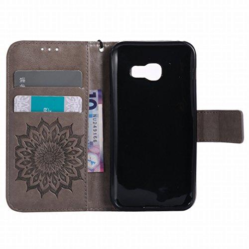 LEMORRY Samsung Galaxy A3 (2017) Custodia Pelle Cuoio Flip Portafoglio Borsa Sottile Bumper Protettivo Magnetico Morbido Silicone TPU Cover Custodia per Galaxy A3 (2017) / A320F, Fiorire Oro Rosa Grigio