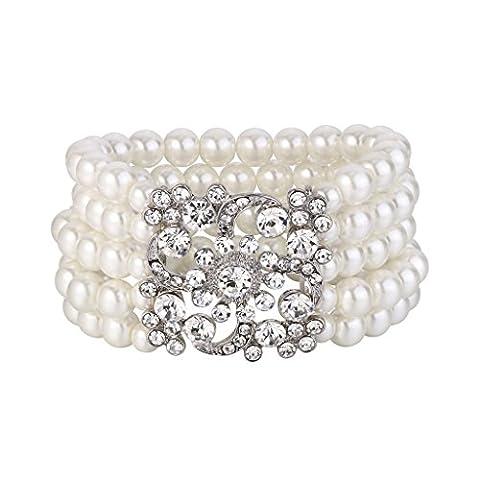 Clearine Femme Vintage Inspiré Cristal Perle Artificielle Stretching Bracelet Mariage Bijou Blanc