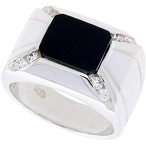 """Revoni-Collana in argento Sterling, forma rettangolare, colore: nero Onyx-Anello da uomo, con 2 scanalature, su ciascun lato & 8 zirconia cubica, 9/(16 40,64 cm (14"""") mm)"""