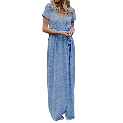 Kleider , Frashing Damen Maxikleid Böhmisches Floral Abendkleid Strandkleid Sommer Maxi Boho Punkte Sommer Strand lange Abend Party Kleid High Waist Kleid (XL, Himmelblau) (High-waist Floral Pencil-skirt)