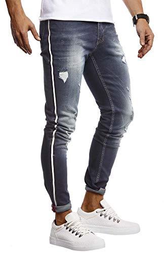 Leif Nelson Herren Jeans Hose Stretch Slim Fit Denim Blaue Lange Jeanshose für Männer Coole Jungen weiße Freizeithose Schwarze Cargo Chino Sommer Winter Basic LN9415 Blau W29L32