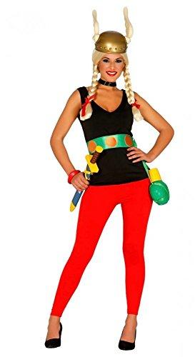 Asterix Damen Kostüm inklusive Helm Gr. S/M Gallier Hose Top Gürtel Comic (Halloween Kostüm Asterix)