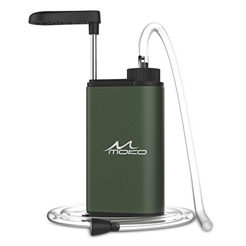 MoKo Wasserfilter Outdoor - Portable Notfall-Personal Camping Wasser Filter Tischwasserfilter mit Starterpaket inklusive Kartuschen für Reise Outdoor-Aktivität, Armee Grün