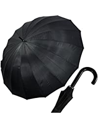 happy rain XXL Golf Regenschirm Partnerschirm Schirm Ø130cm Gästeschirm 16 teilig schwarz