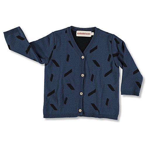 nadadelazos Knitted Cardigan Penne, Prenda de Punto para Niños, Olive Blue, 6-8Y