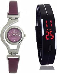 GOBU Combo Pack Of 2 Watches- Maroon Strap Analog Watch & Black Digital Watch