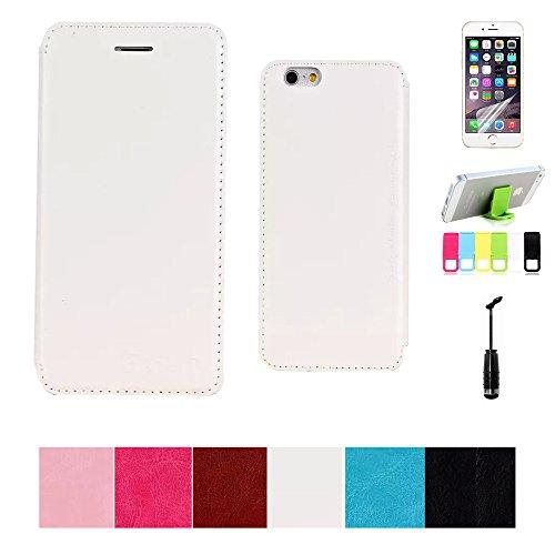iPhone 6Plus Coque Étui en cuir PU à rabat pour iPhone 6Plus 5,5avec support stylet/film protecteur d'écran transparent/Support blanc