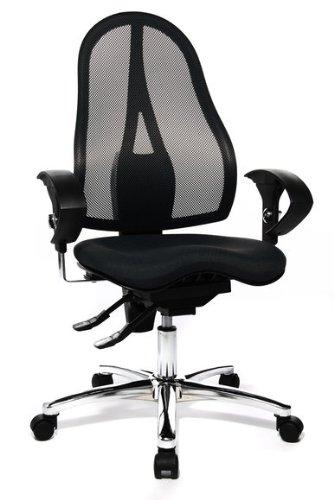 Topstar Bürodrehstuhl Sitness 15 schwarz mit Armlehnen höhenverstellbar - Doppelrollen-Set für Teppichböden thumbnail