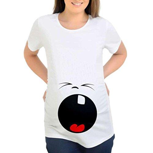Hot Sale! Bekleidung AMUSTER Damen Kurzarm Umstandsmode T Shirt Mode Schwangere Frauen Basic T-shirt Umsstandsshirt als Geschenk für Schwangere (M, B)