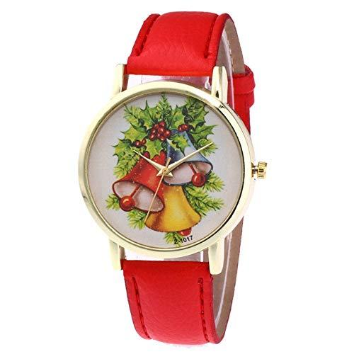 WUQIAN Einzigartige Weihnachten Muster Frauen Rundes Zifferblatt Quarz Weiches Lederband Uhren Rot -