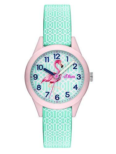 s.Oliver Damen Analog Quarz Uhr mit Silikon Armband SO-3514-PQ