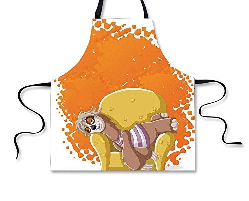 Custom Apron,Sloth,Lazy Female Cartoon Sloth on Sofa Napping on Couch Dreaming Mascot Speech Bubble Decorative,Orange Yellow,Home Apron - Schürze Couch
