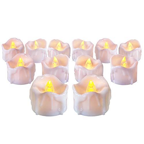 12PCS Flammenlose LED Kerzen mit Timerfunktion, Flackern LED Teelichter Elektrische Teelichter mit Batterie für Halloween, Geburtstag, Hochzeit, Partei-Dekor (Flicker Gelb)
