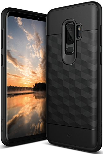 Caseology Parallax Series Case Designed for Galaxy S9 Plus with Slim Fit Geometric Cover and Enhanced Drop Protection for Samsung Galaxy S9 Plus (2018) - Black/Black - Enhanced Protection Case