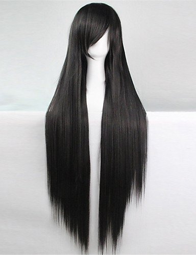jiayy Europa und den Vereinigten Staaten die neue Farbe 100cm Höhe aus Seide Temperatur Kinderperücke schwarze lange Perücken Haar glatt, 34inch -