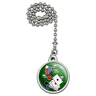 Poker Aces Cards Chips Gambling Ceiling Fan and Light Pull Chain