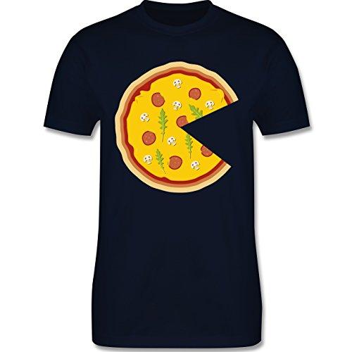 Partner-Look Pärchen Herren - Pizza Pärchenmotiv Teil 1 - Herren T-Shirt Rundhals Navy Blau