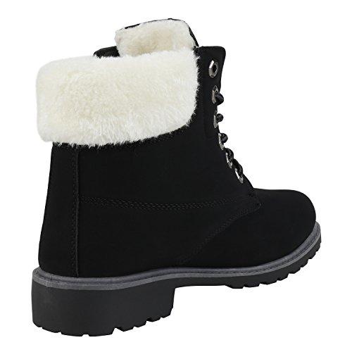 napoli-fashion Gefütterte Damen Schuhe Worker Boots Nieten Stiefeletten Kunstfell Jennika Schwarz Weiss Total